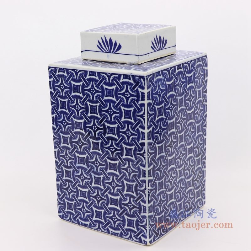 RZKT29-A 盛江陶瓷 仿古做旧青花图纹四方茶叶罐