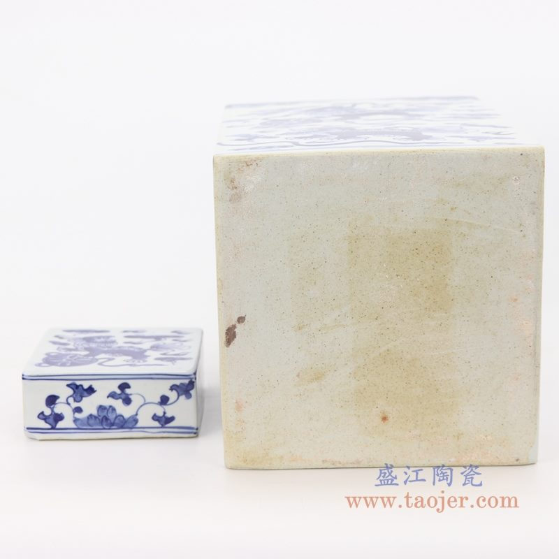 RZKT29-B 盛江陶瓷 仿古做旧青花狮子纹四方茶叶罐