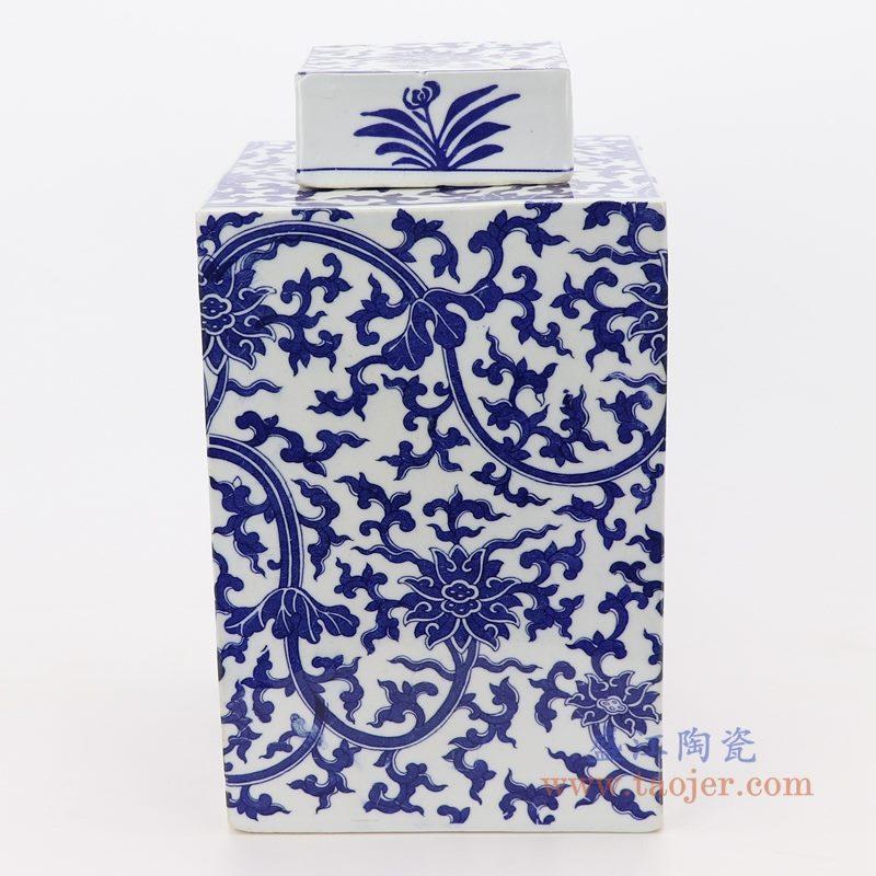 RZKT29-C 盛江陶瓷 仿古做旧青花缠枝莲四方茶叶罐