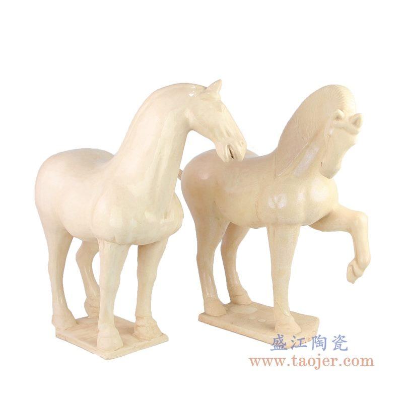 RZLN05 盛江陶瓷 陶瓷白马摆件唐三彩仿古马中式家居饰品