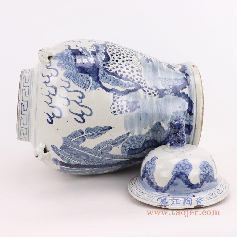 RZMV34-E 盛江陶瓷 仿古做旧麒麟狮子纹将军罐
