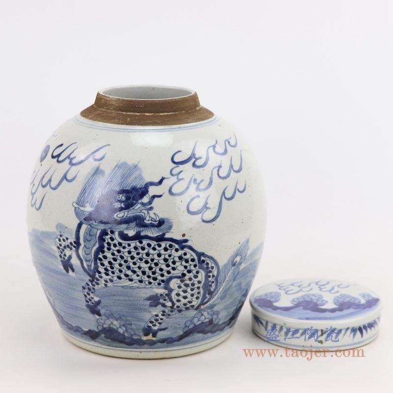 RZMV36-j 盛江陶瓷 仿古做旧青花麒麟茶叶罐