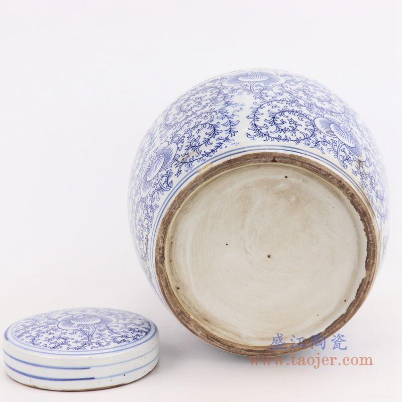 RZPI24-E 盛江陶瓷 仿古做旧青花缠枝莲茶叶罐