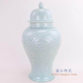 RZQN01 景德镇陶瓷 单色影青釉盖罐台面花瓶 雕刻暗花陶瓷瓷器盖罐将军罐