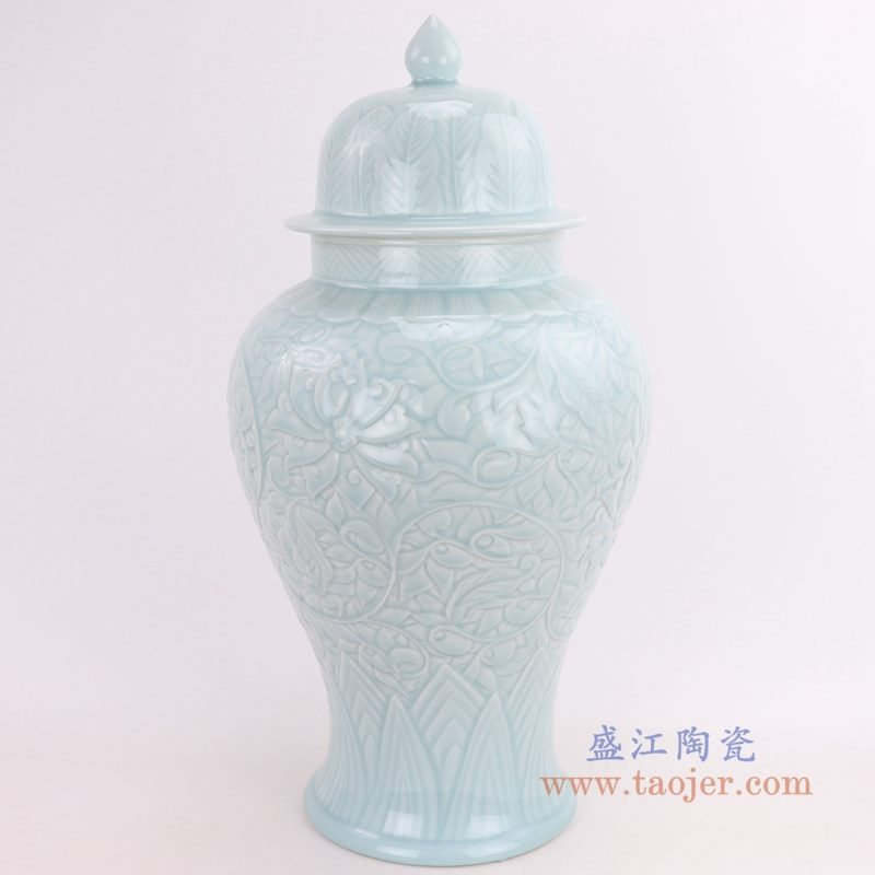 RZQN01 盛江陶瓷 影青釉仿古花瓶花插中式客厅工艺品摆件