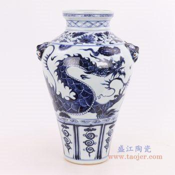 RZQo01 景德镇陶瓷 仿古做旧青花狮子纹花瓶摆件