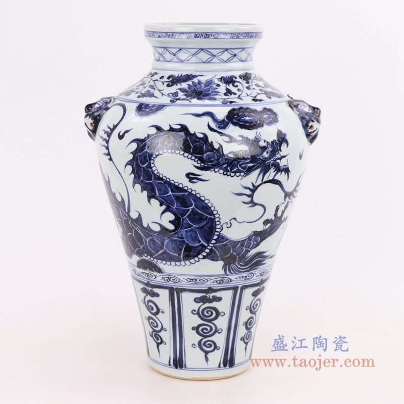 RZQo01 盛江陶瓷 仿古做旧青花狮子纹花瓶摆件