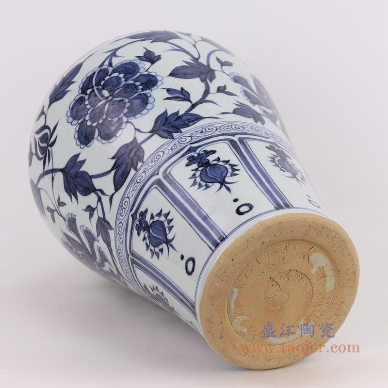 RZQo02 盛江陶瓷 仿古做旧青花瓷手绘荷花缠枝莲梅瓶