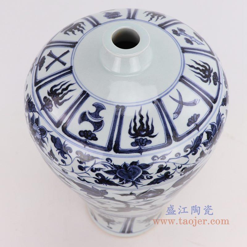 RZQo03 盛江陶瓷 仿古做旧青花缠枝牡丹云梅瓶