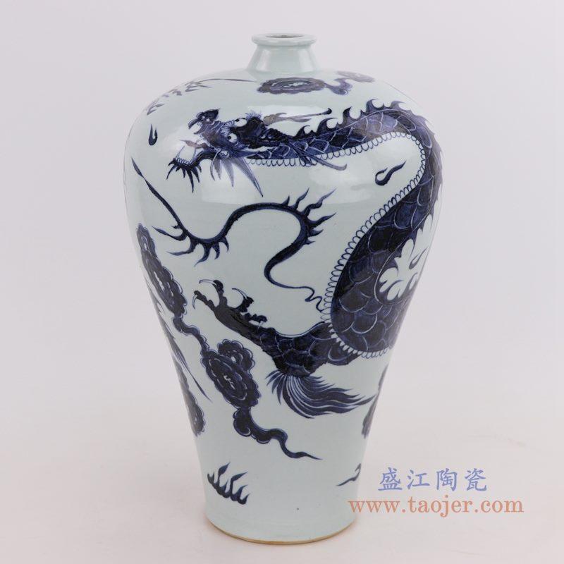 青花飞龙纹梅瓶 手工手绘 古董古玩仿古瓷器收藏