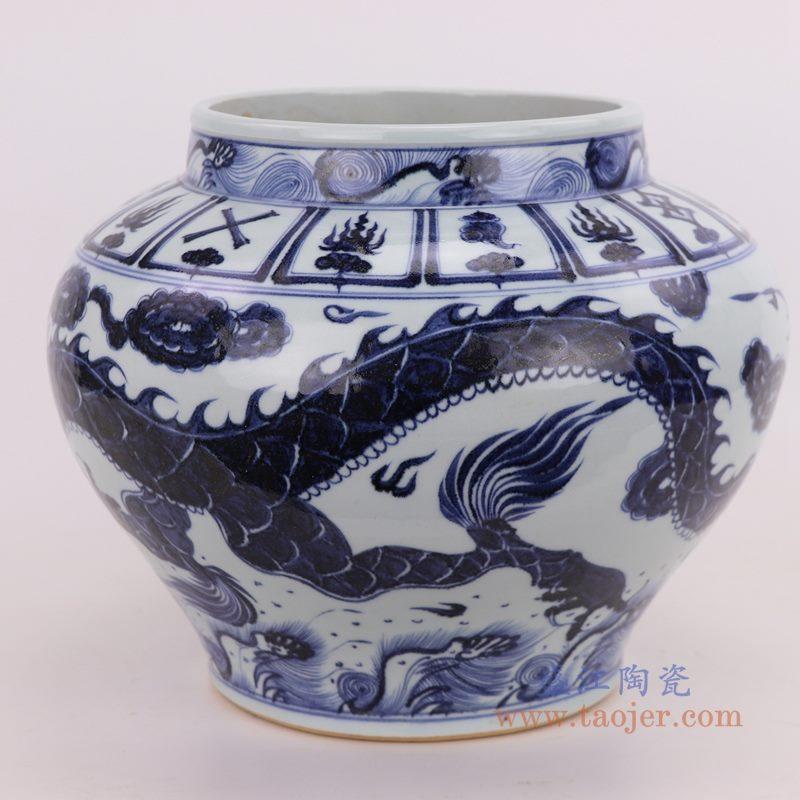 RZQo08 盛江陶瓷 仿古做旧手绘青花狮子纹大罐