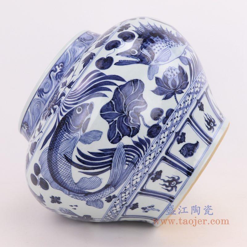 RZQo10 盛江陶瓷 仿古做旧青花荷花鲤鱼鱼纹大罐
