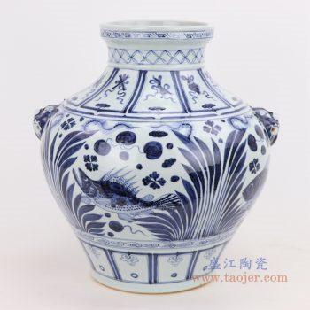 RZQo11 景德镇陶瓷 仿古做旧青花海藻文鲤鱼鱼纹大罐