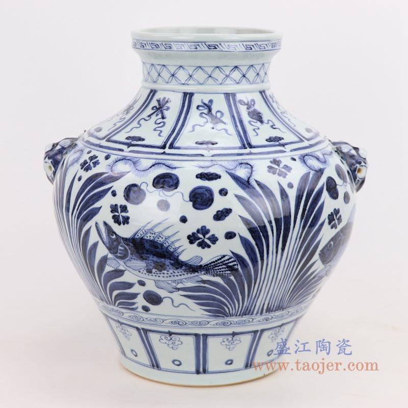 RZQo11 盛江陶瓷 仿古做旧青花海藻文鲤鱼鱼纹大罐