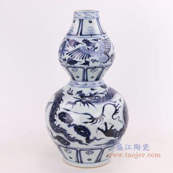RZQo12 景德镇陶瓷 仿古做旧青花狮子纹葫芦瓶