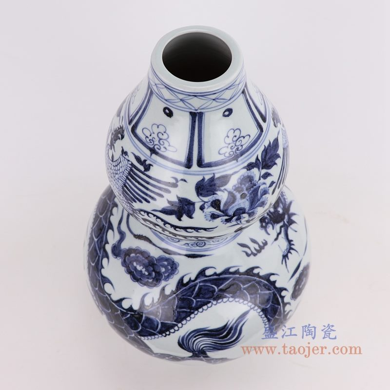 RZQo12 盛江陶瓷 仿古做旧青花狮子纹葫芦瓶