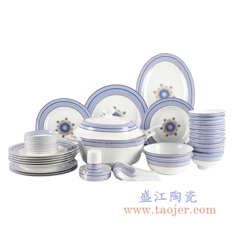 ZPK274-MJ002 景德镇陶瓷 青花瓷餐具组合骨瓷48头送礼家用西式碗碟套装 情迷罗马
