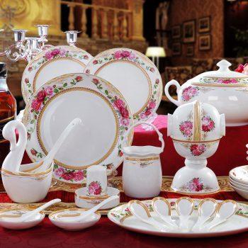 CJ36 景德镇陶瓷 餐具56雪玉花香头高档骨瓷餐具套装盘碗碟筷子