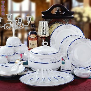 CJ55 景德镇陶瓷 餐具56头高档骨瓷餐具套装盘碗碟厂家直销批发