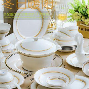 ZPK-262 景德镇陶瓷 骨瓷餐具套装简约高档家用欧式碗碟套装60头冬日暖阳