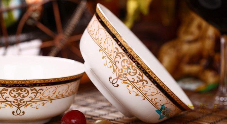 ZPK282 景德镇陶瓷 碗6寸面碗汤碗骨瓷高档骨瓷面碗餐具46头套装批发餐具
