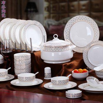CJ49 景德镇陶瓷 56头高档骨瓷餐具套装盘碗碟厂家直销批发礼品