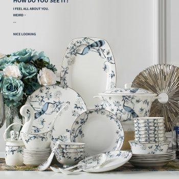 ZPK266_JFY16 景德镇陶瓷骨瓷餐具中式家用碗盘碗碟套装厂家直销60头孔雀蓝