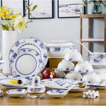 ZPK-252 景德镇陶瓷 骨瓷碗碟套装家用中式餐具青花玲珑瓷56头笑口常开