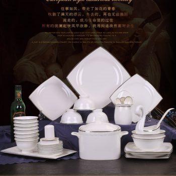 ZPK294 景德镇陶瓷 骨瓷餐具套装黑线繁花创意欧式景德镇陶瓷碗盘碟家用瓷器