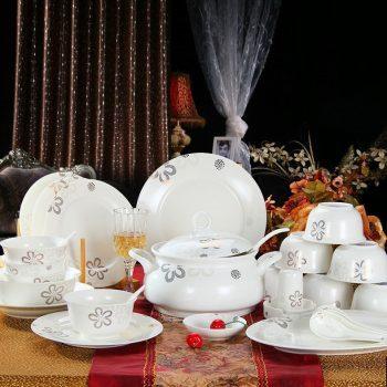 ZPK271 景德镇陶瓷 骨瓷餐具套装陶瓷碗盘碟勺套装中式银色浪漫 餐具礼品