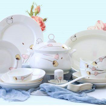 ZPK-221 景德镇陶瓷 56头骨瓷餐具套装碗盘家用碗碟套装简约清新俏佳人