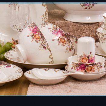 ZPK265 景德镇陶瓷 餐具套装家用高档碗盘 60头英格雅丽骨瓷套装结婚送礼