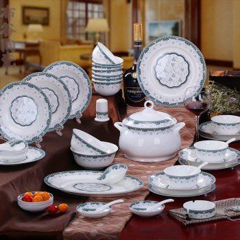 CJ31 景德镇陶瓷 餐具56头高档骨瓷餐具套装盘碗碟厂家直销批发礼品
