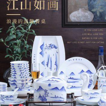 ZPK-257 景德镇陶瓷 骨瓷餐具中式家用微波炉可用碗碟套装60头江山如画