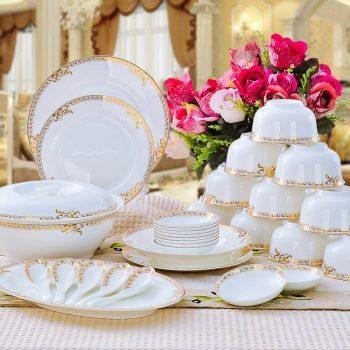 CJ45 景德镇陶瓷 陶瓷餐具56头高档骨瓷餐具套装盘碗碟厂家直销批发礼品
