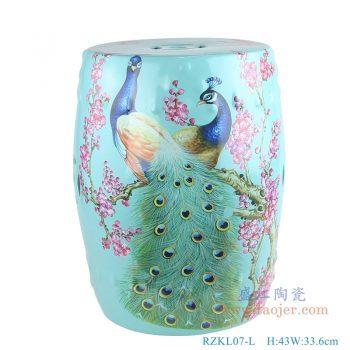 RZKL07-L 美式颜色釉陶瓷鼓凳 凉墩 孔雀花鸟 浅绿花鸟