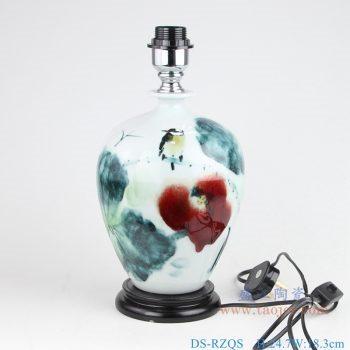 DS-RZQS 手绘写意釉下彩荷花花鸟 陶瓷台灯