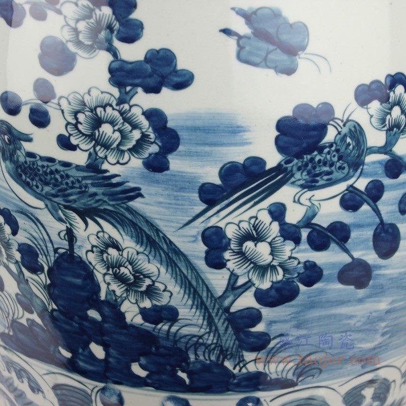 RYKB158-A  手绘花鸟陶瓷鼓钉鼓凳 花鸟纹细节图