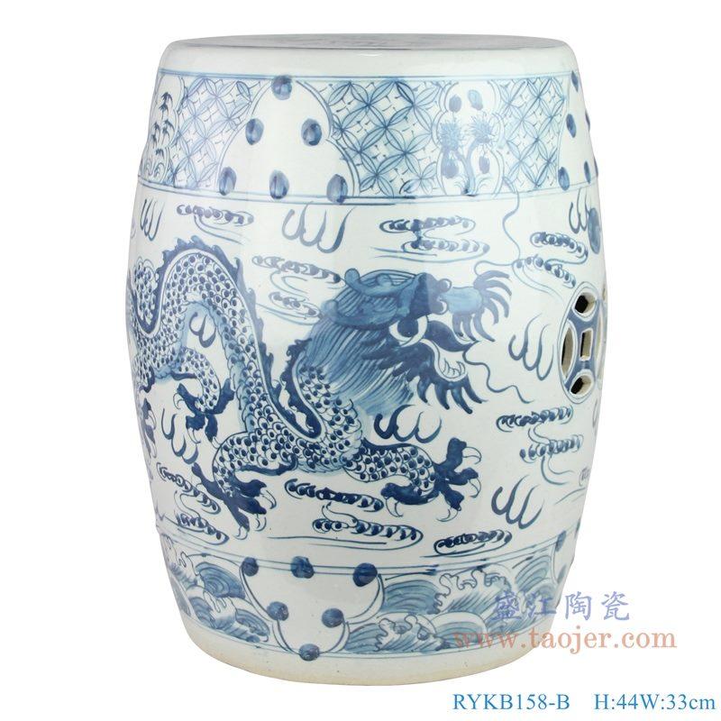 手绘青花龙纹陶瓷鼓钉鼓凳 纯白图