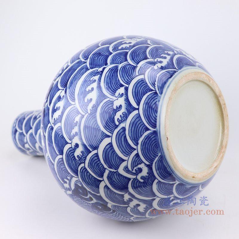 仿古 手绘 青花海水鱼纹天球瓶