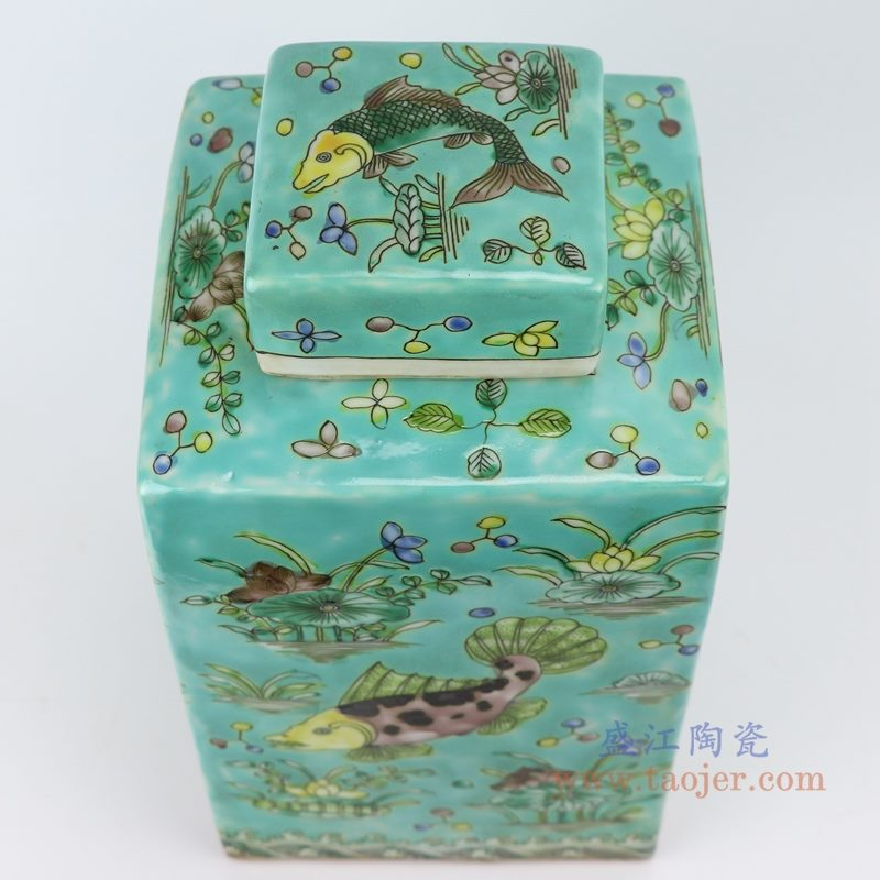 RYQQ23-B 粉彩手绘鱼藻纹四方带盖罐储物罐  盖子细节图