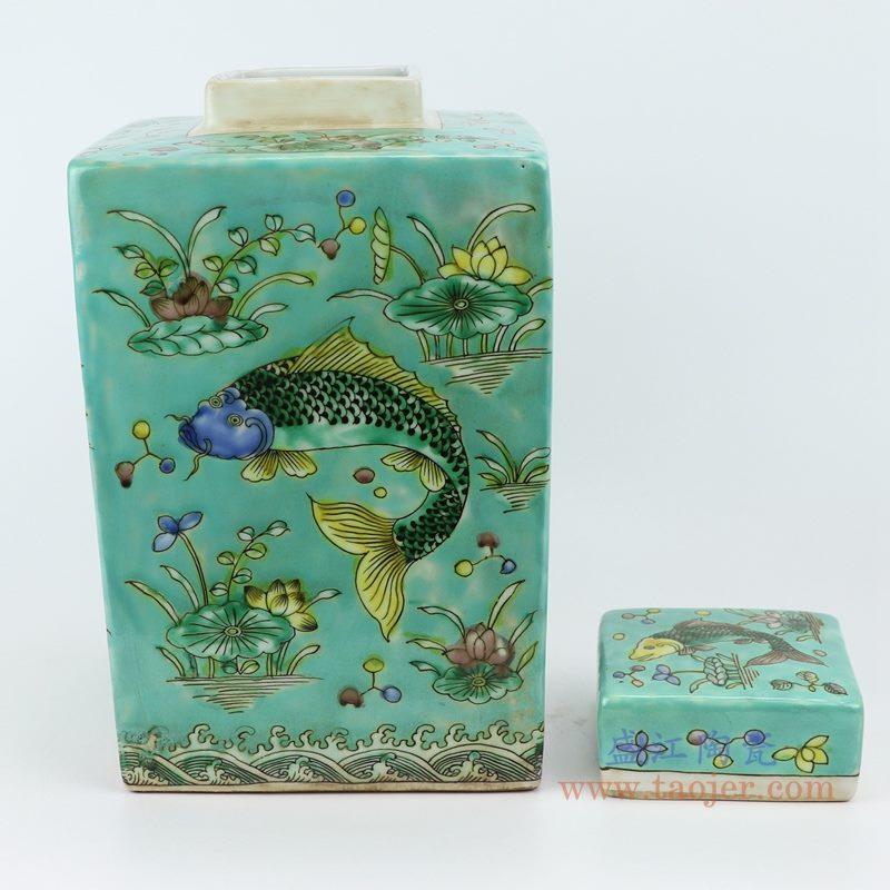 RYQQ23-B 粉彩手绘鱼藻纹四方带盖罐储物罐  纹饰细节图