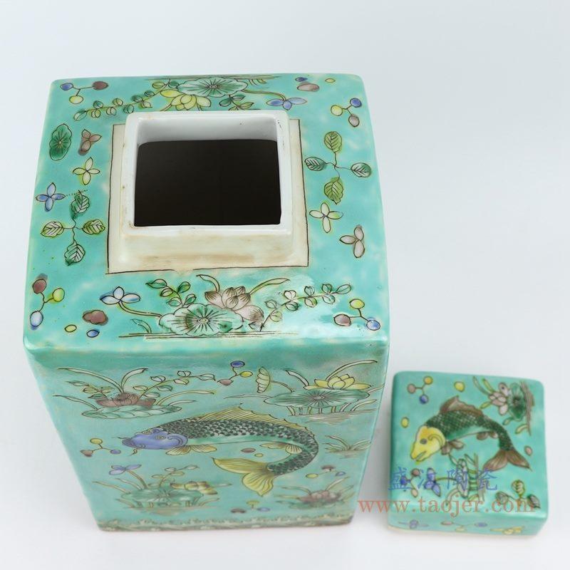 粉彩手绘鱼藻纹四方带盖罐储物罐 绿色底色 绿地