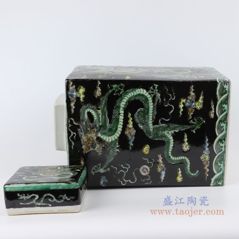 RYQQ23-C 粉彩手绘龙纹四方带盖罐储物罐 细节图