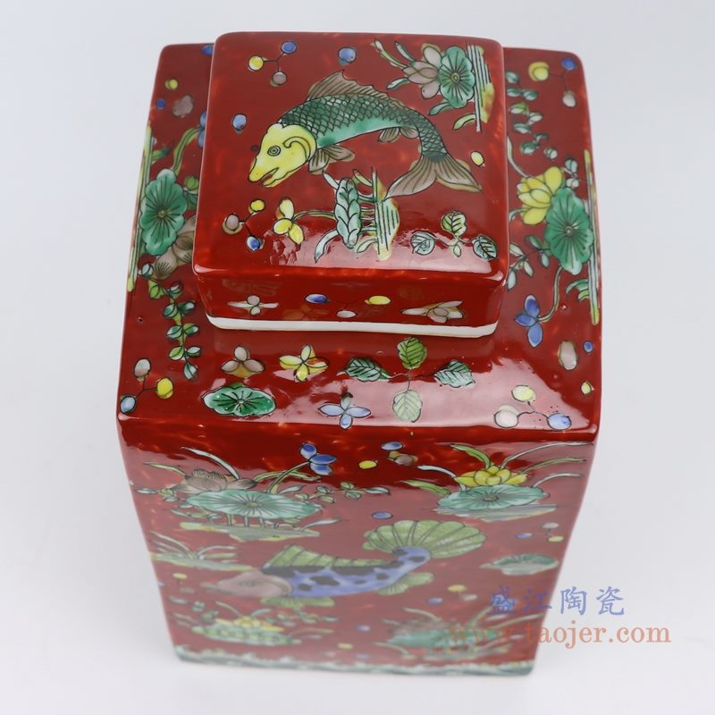 RYQQ23-D 粉彩鱼藻纹四方带盖罐储物罐   顶部细节图