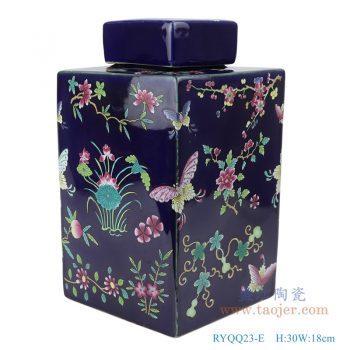 RYQQ23-E 粉彩手绘蝴蝶花卉纹四方带盖罐储物罐 深蓝色