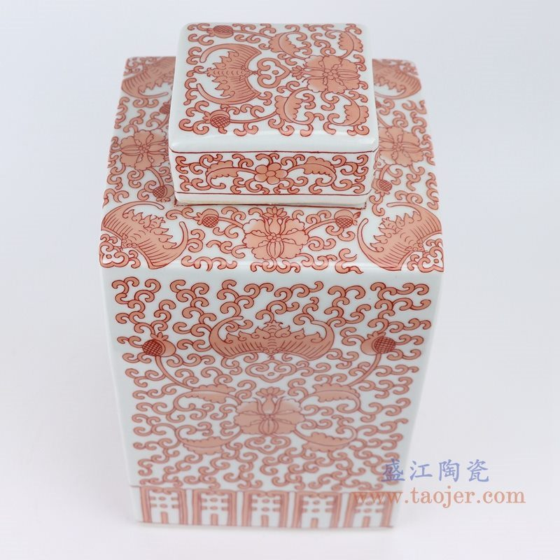 RYQQ23-E 粉彩手绘矾红缠枝莲四方茶叶罐  盖子细节图