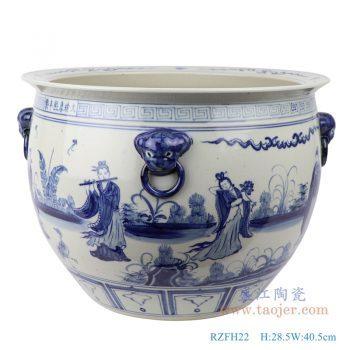 RZFH22 手绘青花人物故事八仙过海狮子头大缸