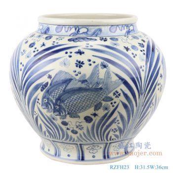 RZFH23 仿古青花 手绘鱼藻纹大罐