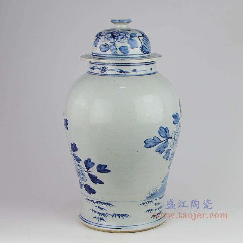 RZFI05-F 仿古手绘青花花鸟将军罐 背面图